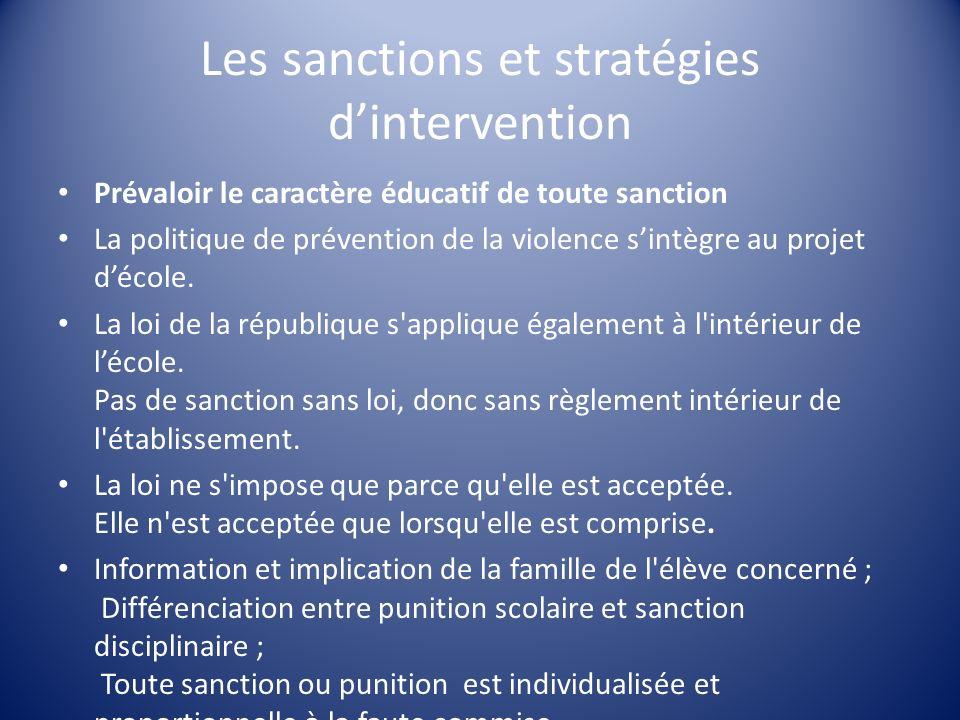 Les sanctions et stratégies dintervention Prévaloir le caractère éducatif de toute sanction La politique de prévention de la violence sintègre au proj