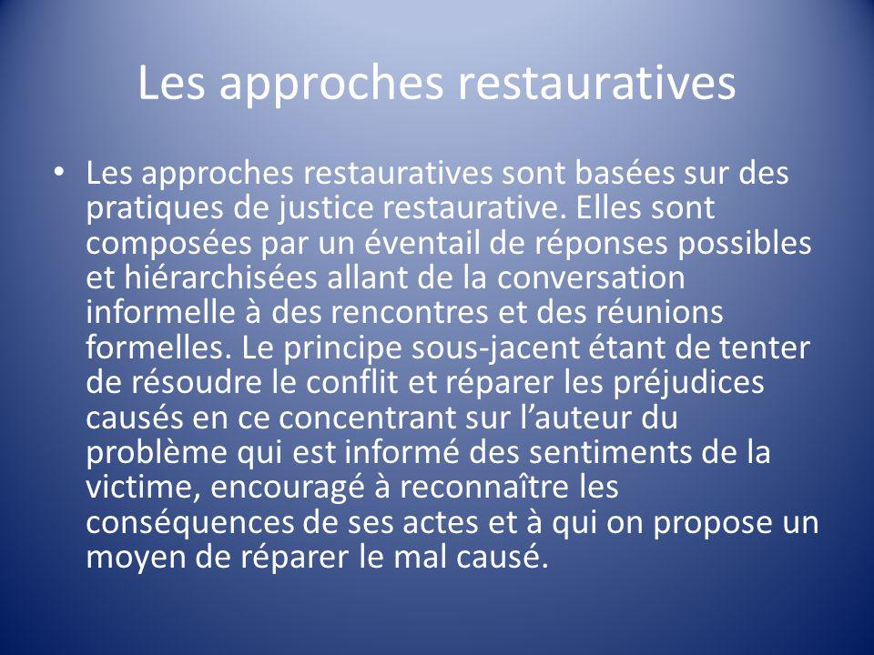 Les approches restauratives Les approches restauratives sont basées sur des pratiques de justice restaurative. Elles sont composées par un éventail de