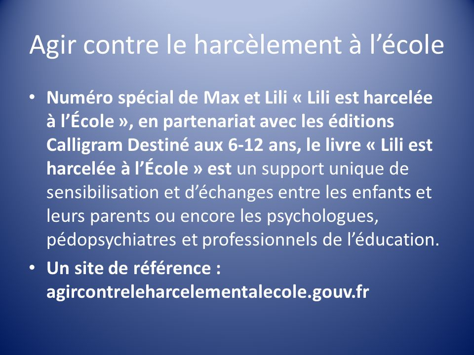 Numéro spécial de Max et Lili « Lili est harcelée à lÉcole », en partenariat avec les éditions Calligram Destiné aux 6-12 ans, le livre « Lili est har