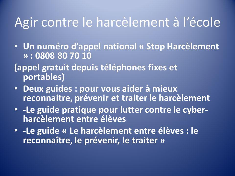 Agir contre le harcèlement à lécole Un numéro dappel national « Stop Harcèlement » : 0808 80 70 10 (appel gratuit depuis téléphones fixes et portables