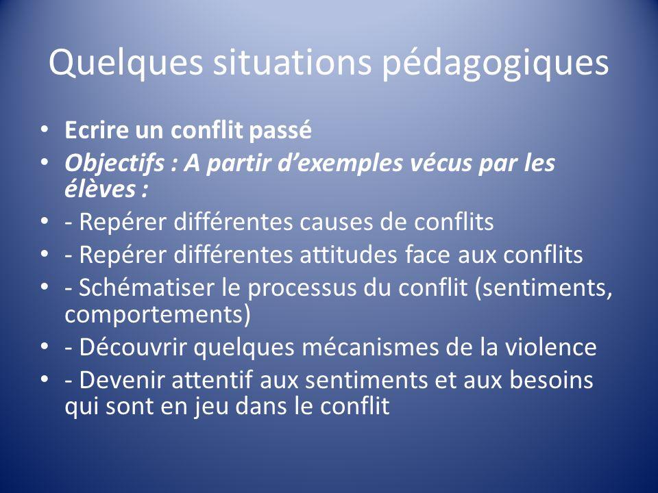 Quelques situations pédagogiques Ecrire un conflit passé Objectifs : A partir dexemples vécus par les élèves : - Repérer différentes causes de conflit
