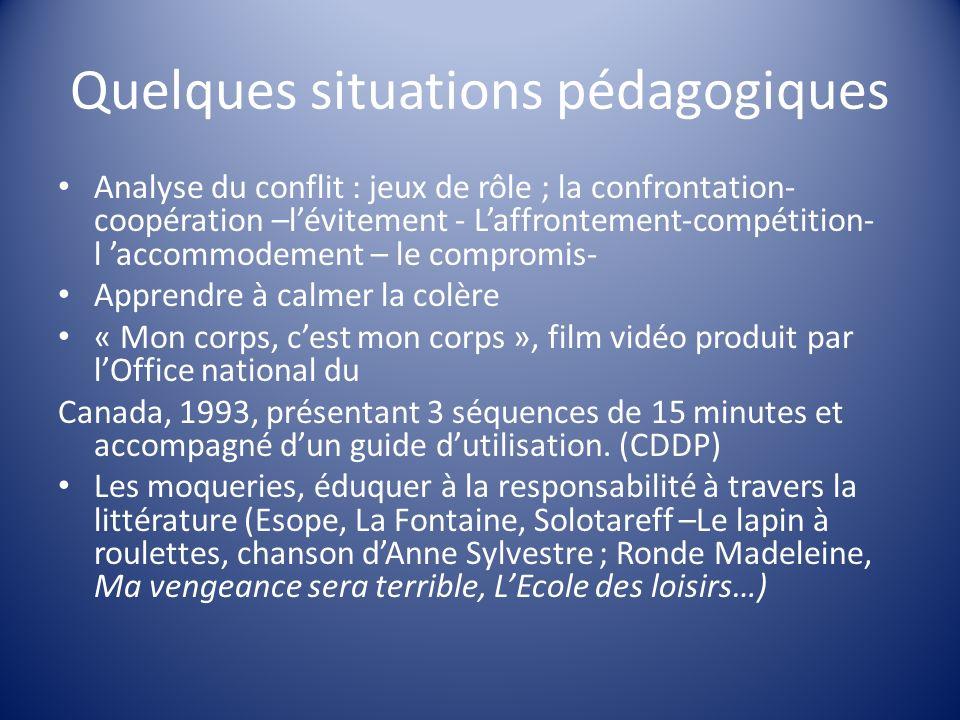 Quelques situations pédagogiques Analyse du conflit : jeux de rôle ; la confrontation- coopération –lévitement - Laffrontement-compétition- l accommod