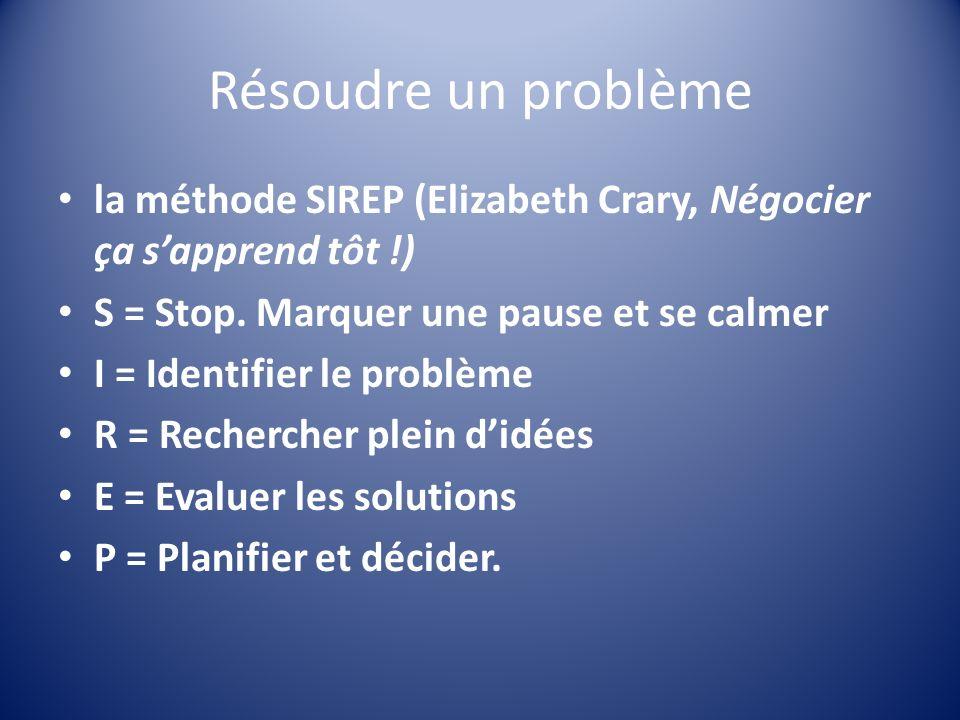 Résoudre un problème la méthode SIREP (Elizabeth Crary, Négocier ça sapprend tôt !) S = Stop. Marquer une pause et se calmer I = Identifier le problèm