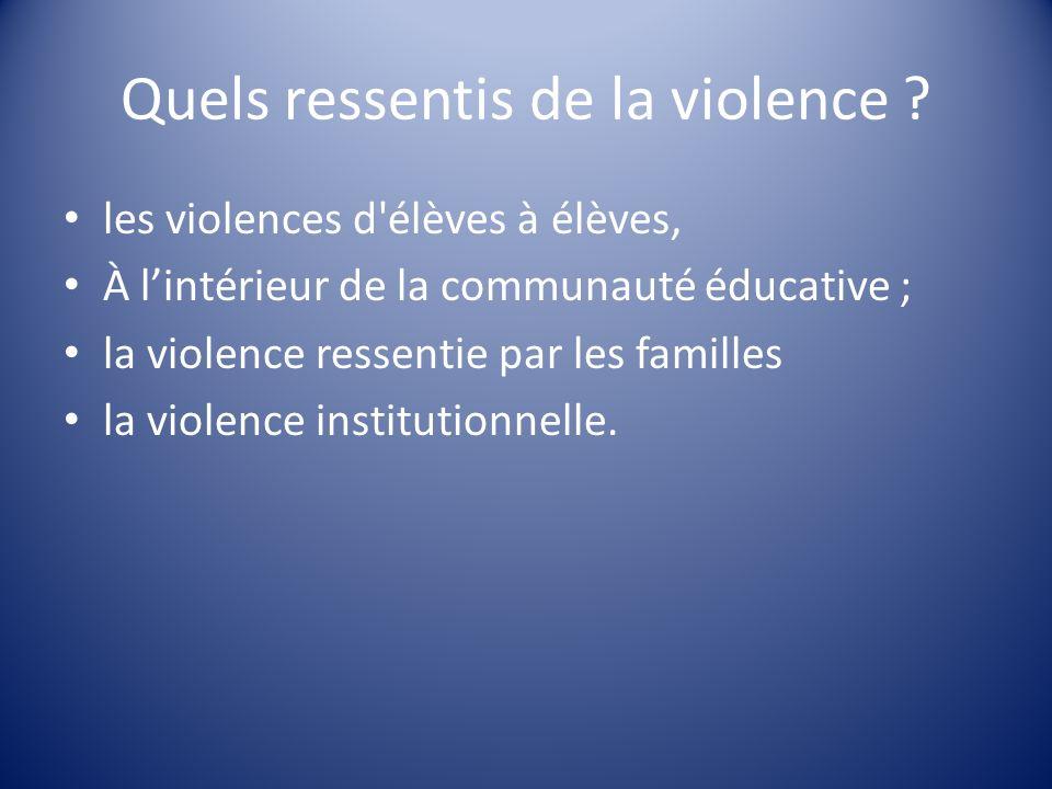 Quels ressentis de la violence ? les violences d'élèves à élèves, À lintérieur de la communauté éducative ; la violence ressentie par les familles la