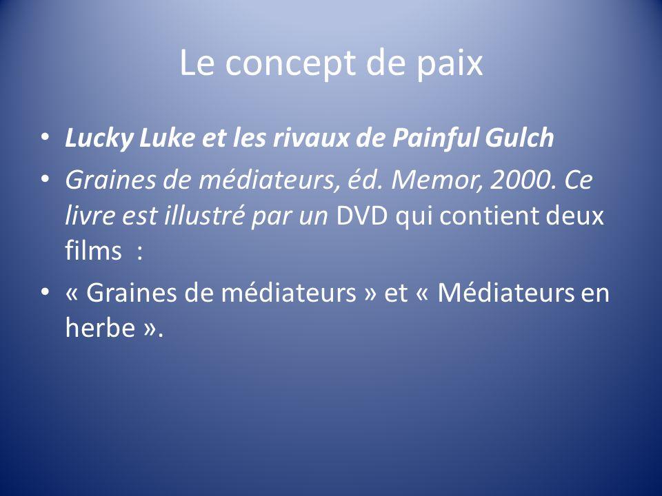 Le concept de paix Lucky Luke et les rivaux de Painful Gulch Graines de médiateurs, éd. Memor, 2000. Ce livre est illustré par un DVD qui contient deu