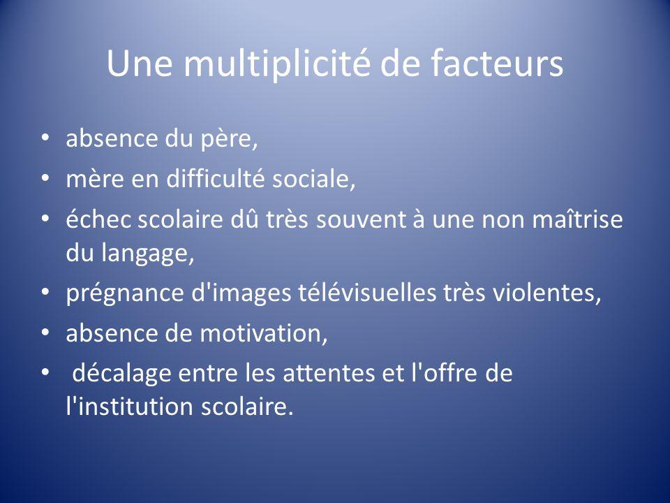 Une multiplicité de facteurs absence du père, mère en difficulté sociale, échec scolaire dû très souvent à une non maîtrise du langage, prégnance d'im