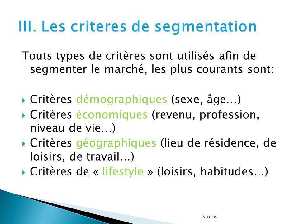 Touts types de critères sont utilisés afin de segmenter le marché, les plus courants sont: Critères démographiques (sexe, âge…) Critères économiques (