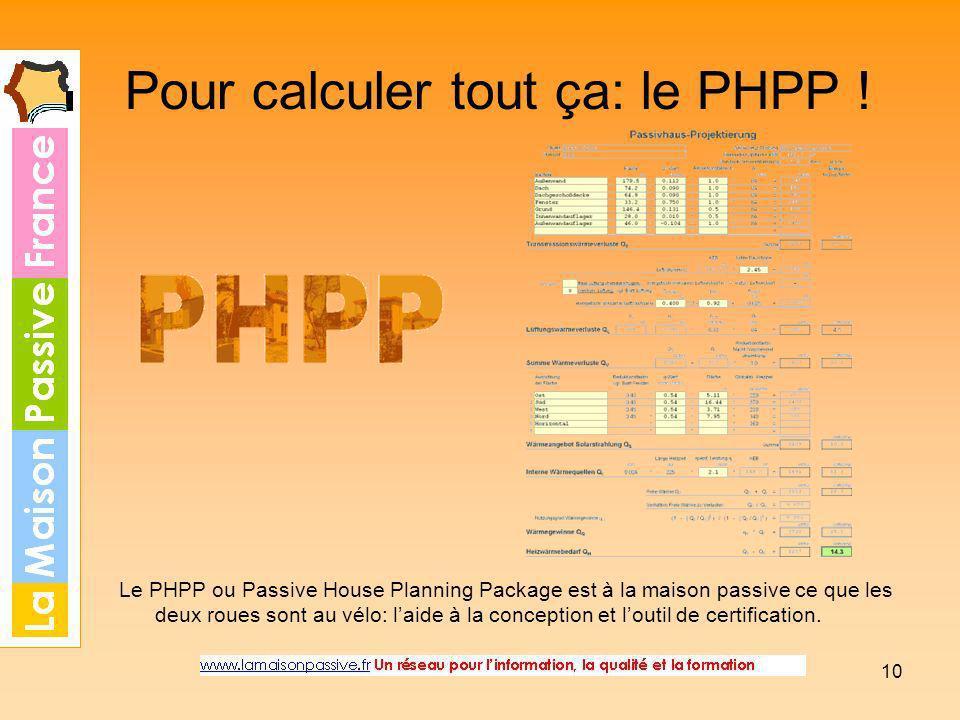 10 Pour calculer tout ça: le PHPP ! Le PHPP ou Passive House Planning Package est à la maison passive ce que les deux roues sont au vélo: laide à la c