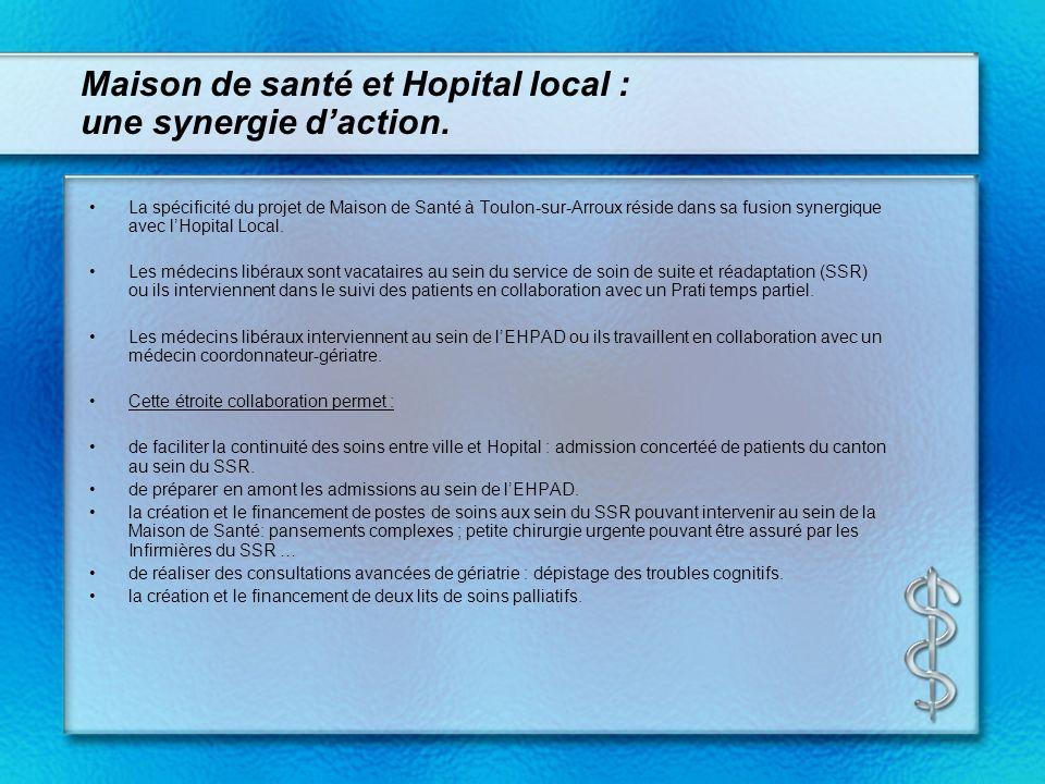 Maison de santé et Hopital local : une synergie daction. La spécificité du projet de Maison de Santé à Toulon-sur-Arroux réside dans sa fusion synergi
