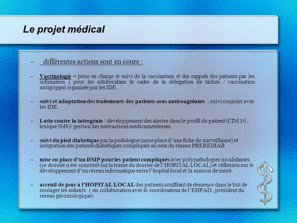 Le projet médical – différentes actions sont en cours : –Vaccinologie = prise en charge et suivi de la vaccination et des rappels des patients par les