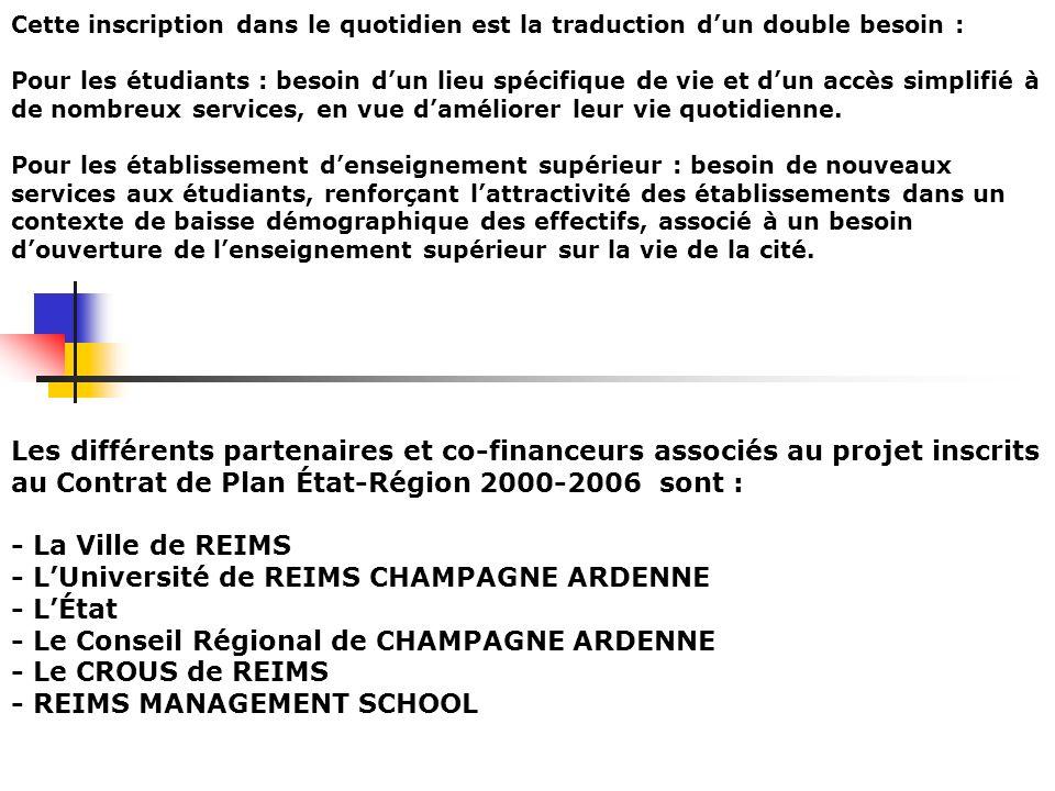 GESTION DE LA MAISON DE LETUDIANT La gestion de la Maison de lÉtudiant sera confiée au CROUS de REIMS à lissue de la livraison du bâtiment, qui restera propriété de la Ville de Reims.