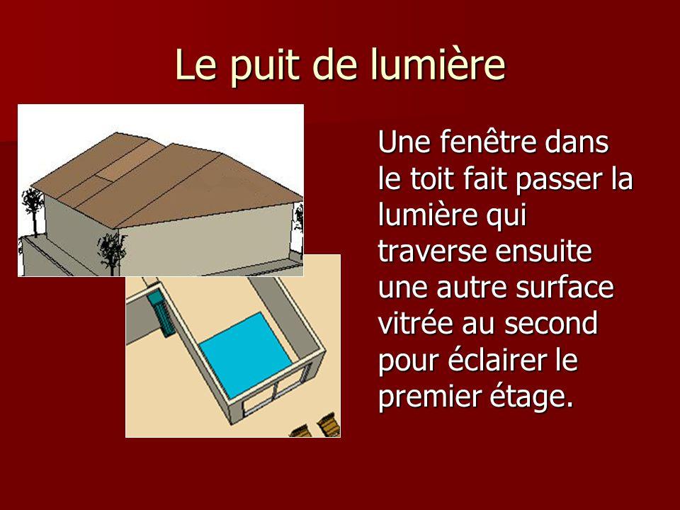 Le toit Du à labsence de fenêtre volontaire, un puit de lumière à été ingénieusement aménagé dans le toit de façon à faire passer la lumière à travers