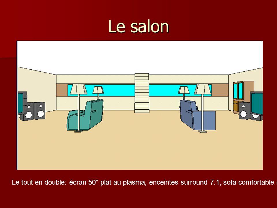 Le salon Pour ajouter un peu dextravagance, une pièce entière à été prévue pour le divertissement, notamment avec le cinéma maison.