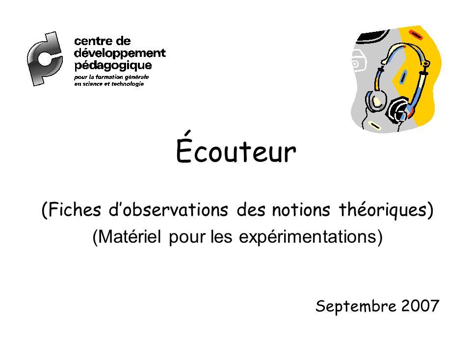 Écouteur (Fiches dobservations des notions théoriques) (Matériel pour les expérimentations) Septembre 2007