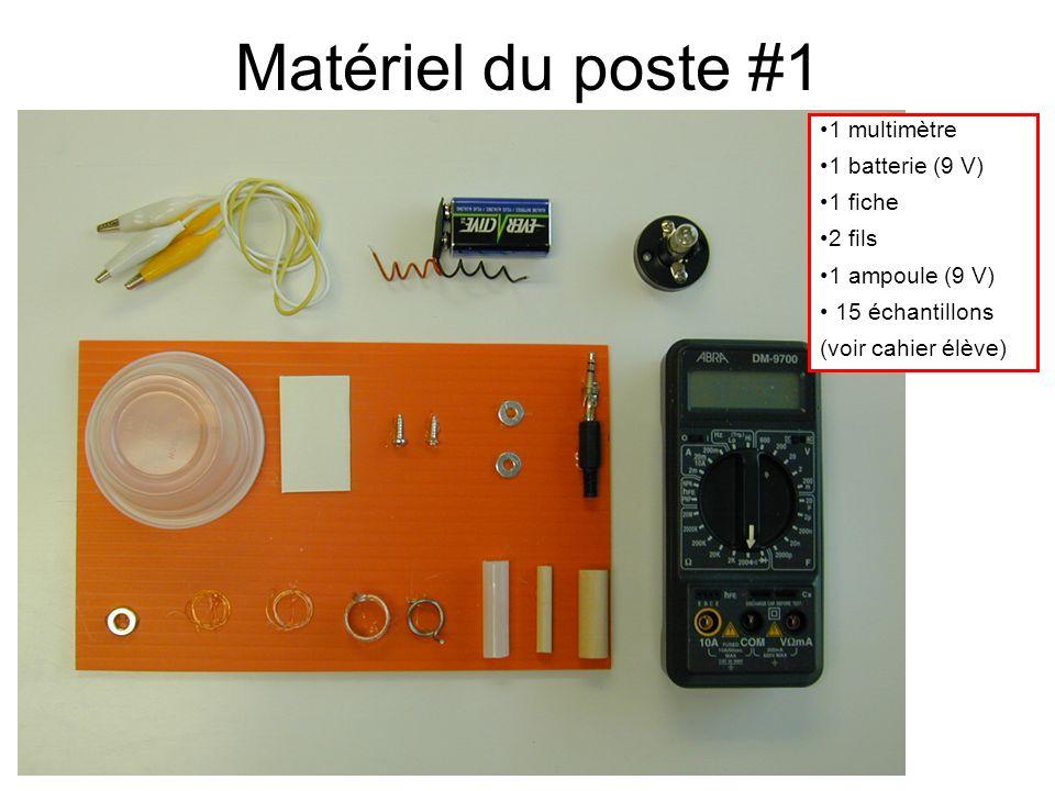 Matériel du poste #1 1 multimètre 1 batterie (9 V) 1 fiche 2 fils 1 ampoule (9 V) 15 échantillons (voir cahier élève)