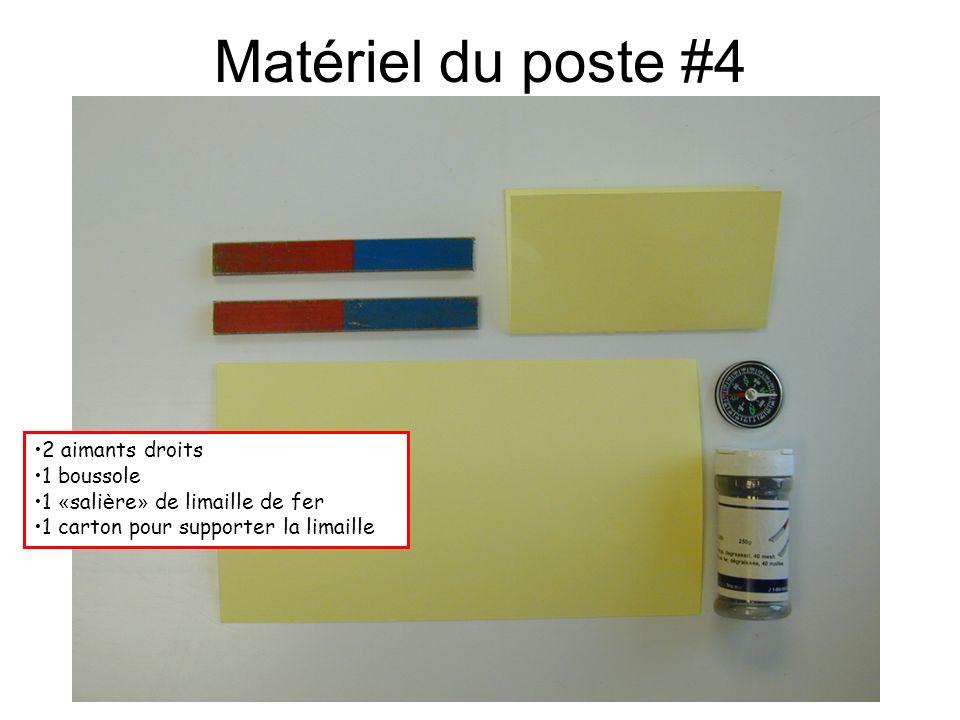 Matériel du poste #5 1 source de courant ( 5 A) 2 fils é lectriques 1 conducteur de cuivre (#14) 1 boussole (diam è tre de 2 cm)