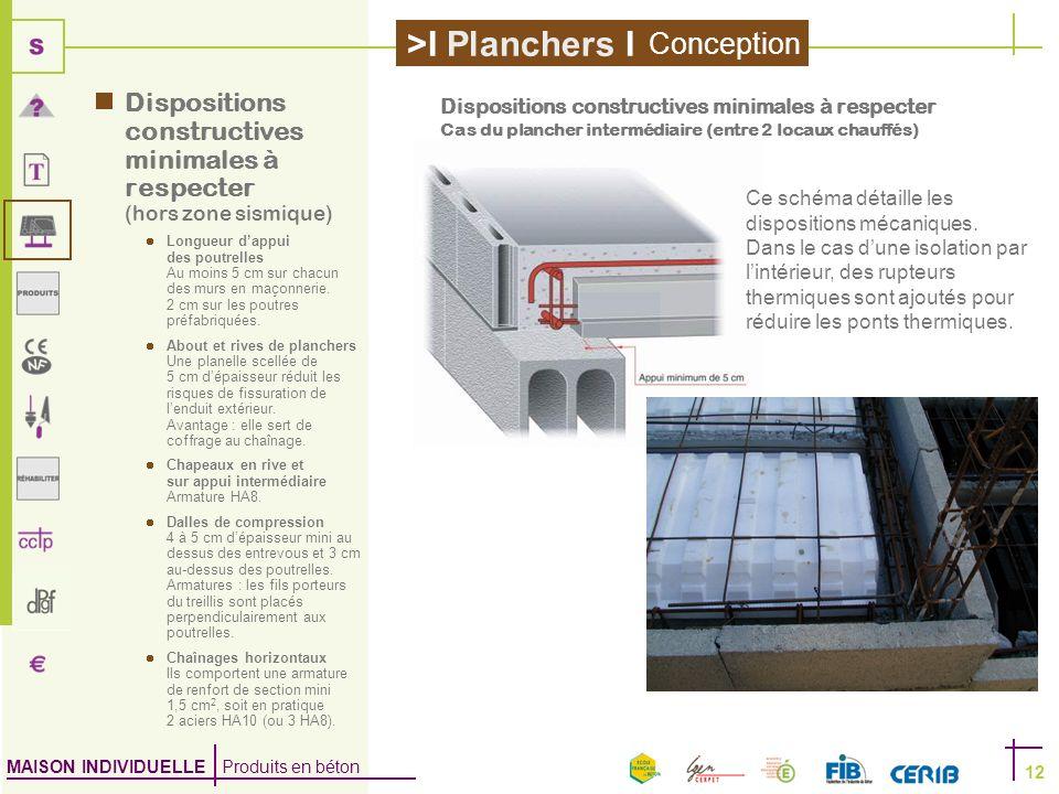 MAISON INDIVIDUELLE Produits en béton >I Planchers I 12 Dispositions constructives minimales à respecter (hors zone sismique) Longueur dappui des pout