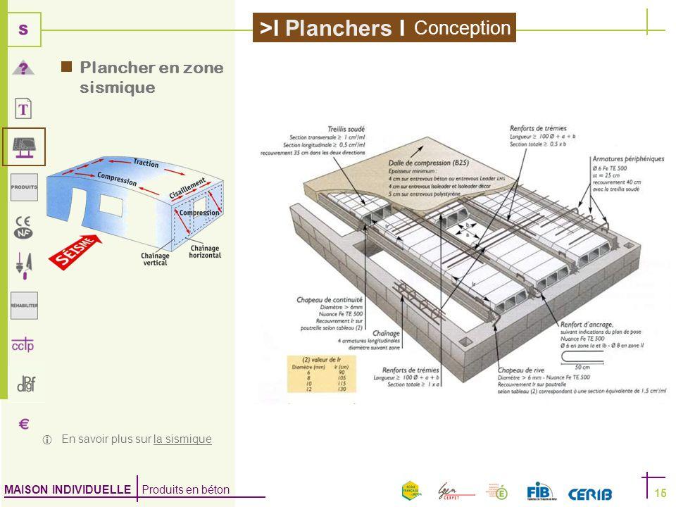 MAISON INDIVIDUELLE Produits en béton >I Planchers I 15 Plancher en zone sismique En savoir plus sur la sismiquela sismique Conception