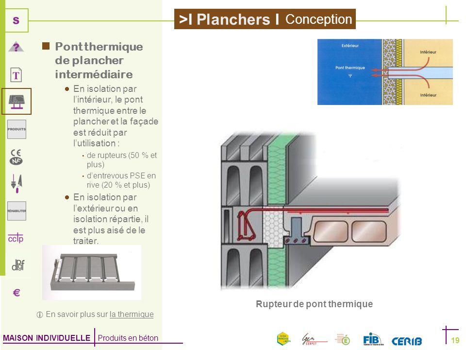 MAISON INDIVIDUELLE Produits en béton >I Planchers I 19 Rupteur de pont thermique Pont thermique de plancher intermédiaire En isolation par lintérieur