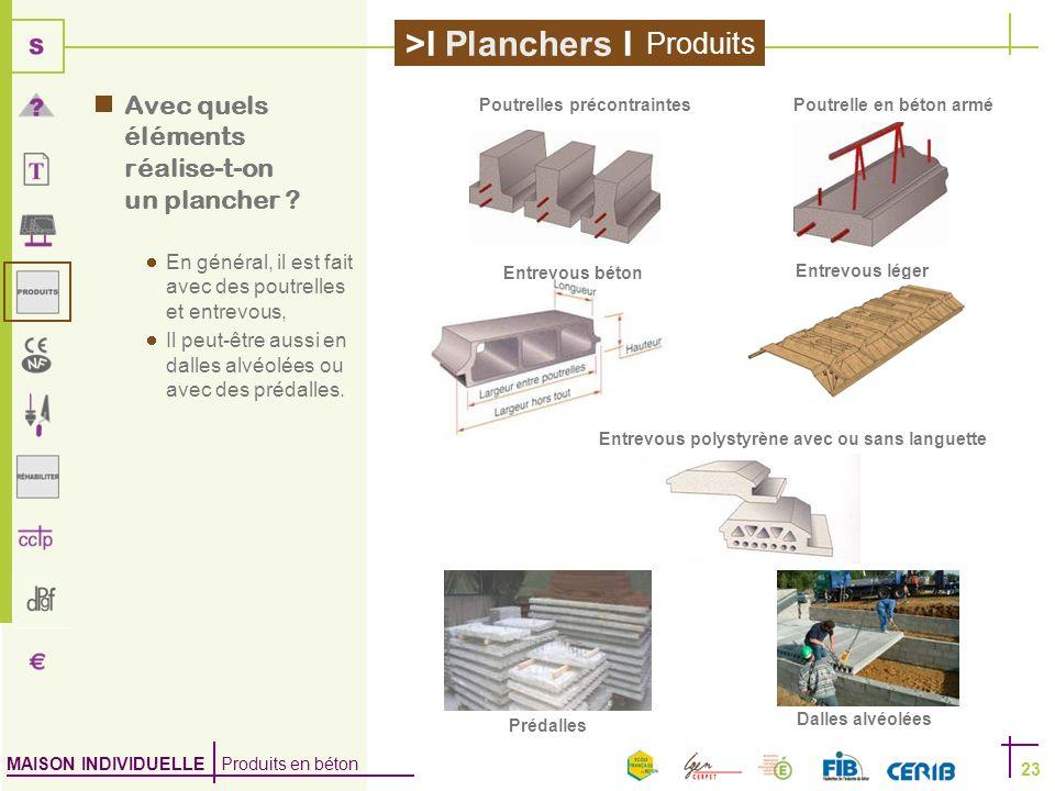 MAISON INDIVIDUELLE Produits en béton >I Planchers I 23 Avec quels éléments réalise-t-on un plancher ? En général, il est fait avec des poutrelles et