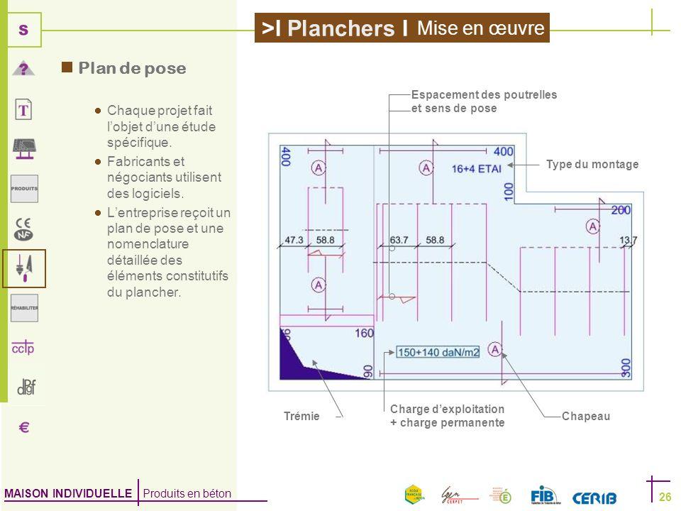MAISON INDIVIDUELLE Produits en béton >I Planchers I 26 Plan de pose Chaque projet fait lobjet dune étude spécifique. Fabricants et négociants utilise