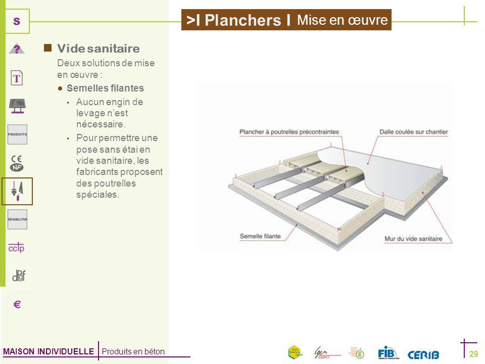 MAISON INDIVIDUELLE Produits en béton >I Planchers I 29 Vide sanitaire Deux solutions de mise en œuvre : Semelles filantes Aucun engin de levage nest