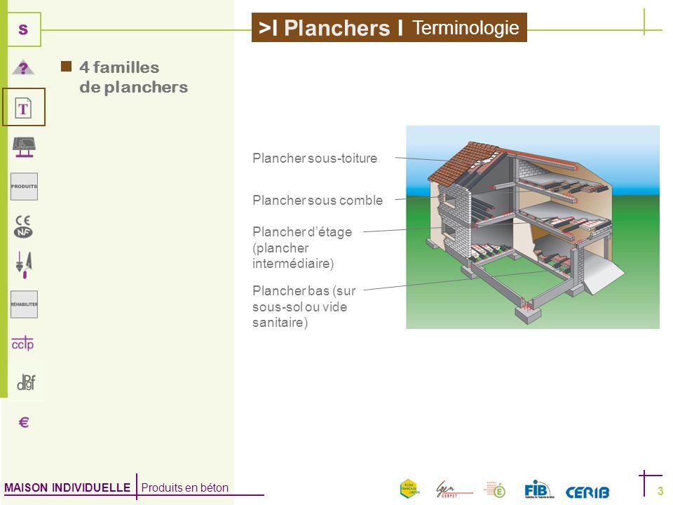MAISON INDIVIDUELLE Produits en béton >I Planchers I 3 4 familles de planchers Plancher sous-toiture Plancher sous comble Plancher détage (plancher in