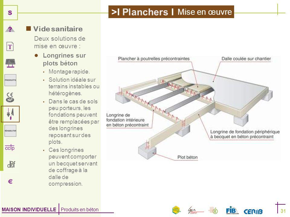 MAISON INDIVIDUELLE Produits en béton >I Planchers I 31 Vide sanitaire Deux solutions de mise en œuvre : Longrines sur plots béton Montage rapide. Sol