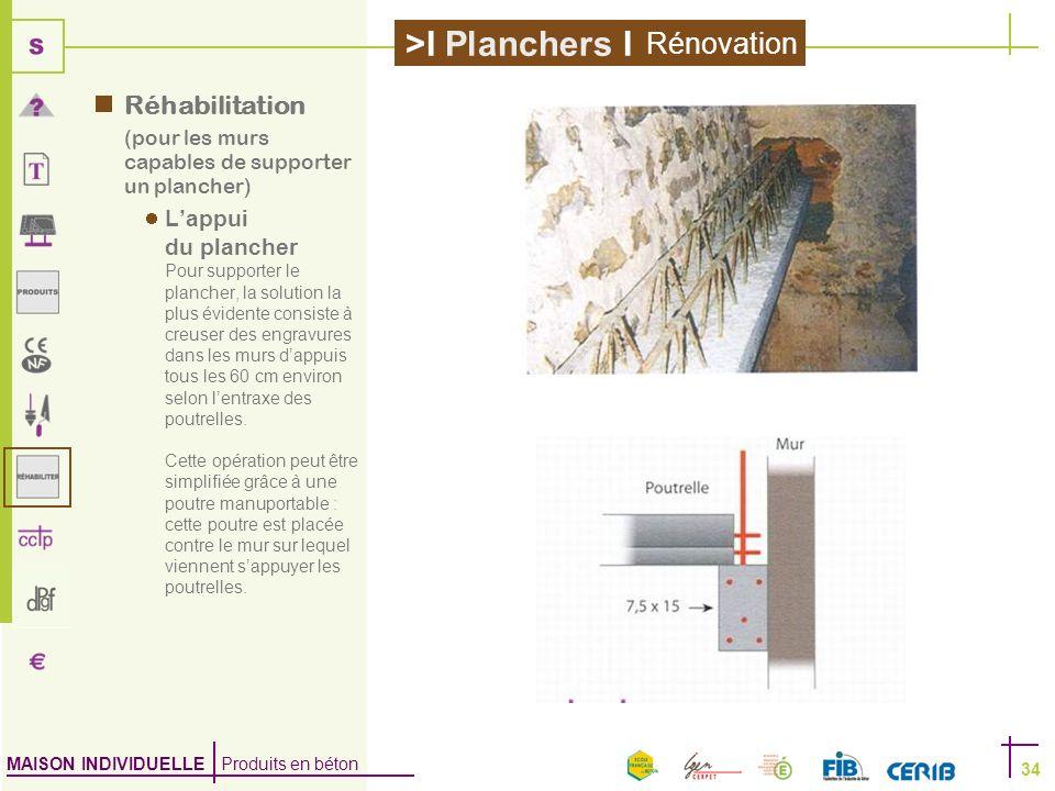 MAISON INDIVIDUELLE Produits en béton >I Planchers I 34 Réhabilitation (pour les murs capables de supporter un plancher) Lappui du plancher Pour suppo
