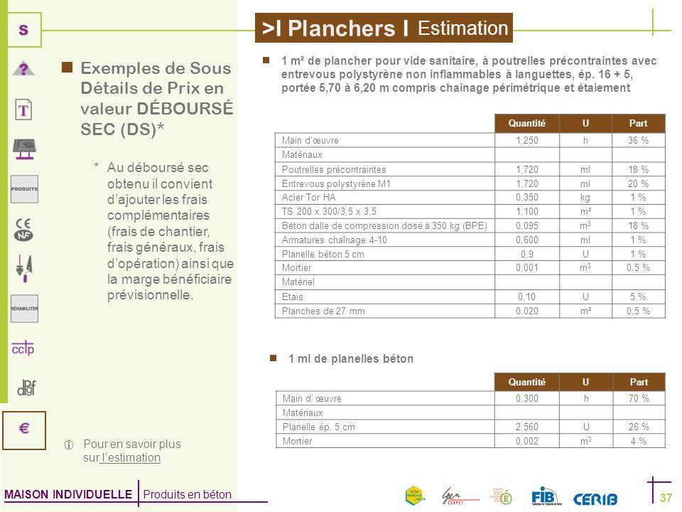 MAISON INDIVIDUELLE Produits en béton >I Planchers I 37 QuantitéUPart Main dœuvre1,250h36 % Matériaux Poutrelles précontraintes1,720ml18 % Entrevous p