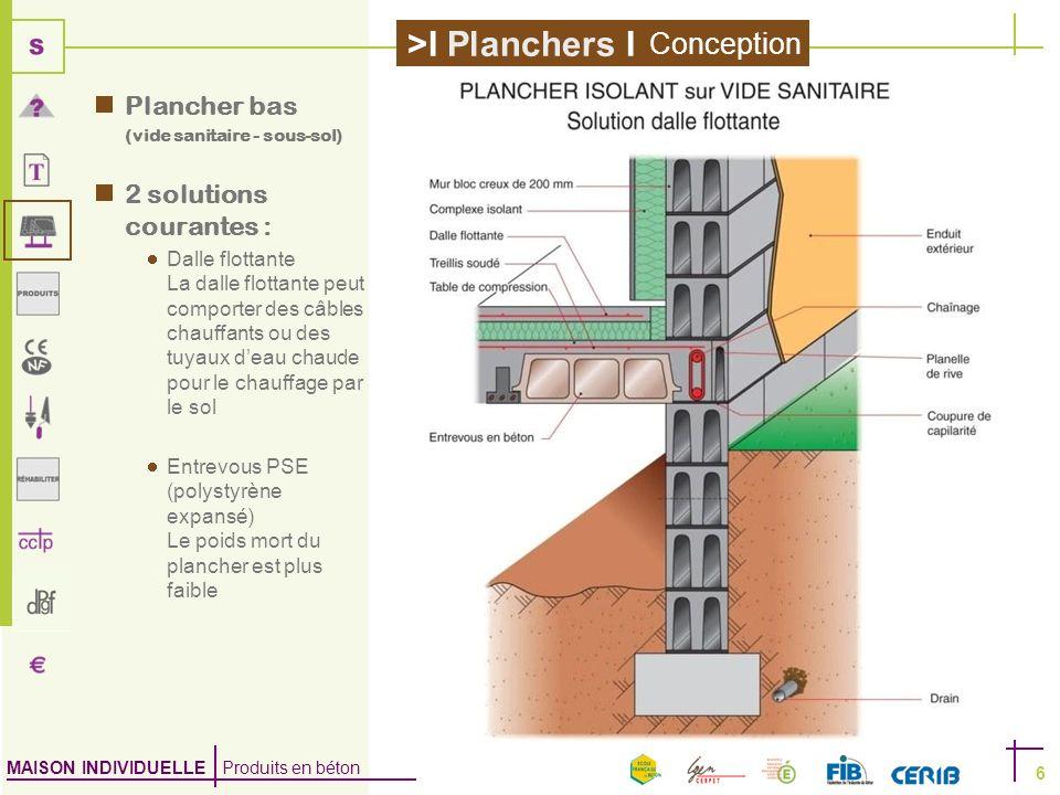 MAISON INDIVIDUELLE Produits en béton >I Planchers I 6 Plancher bas (vide sanitaire - sous-sol) 2 solutions courantes : Dalle flottante La dalle flott