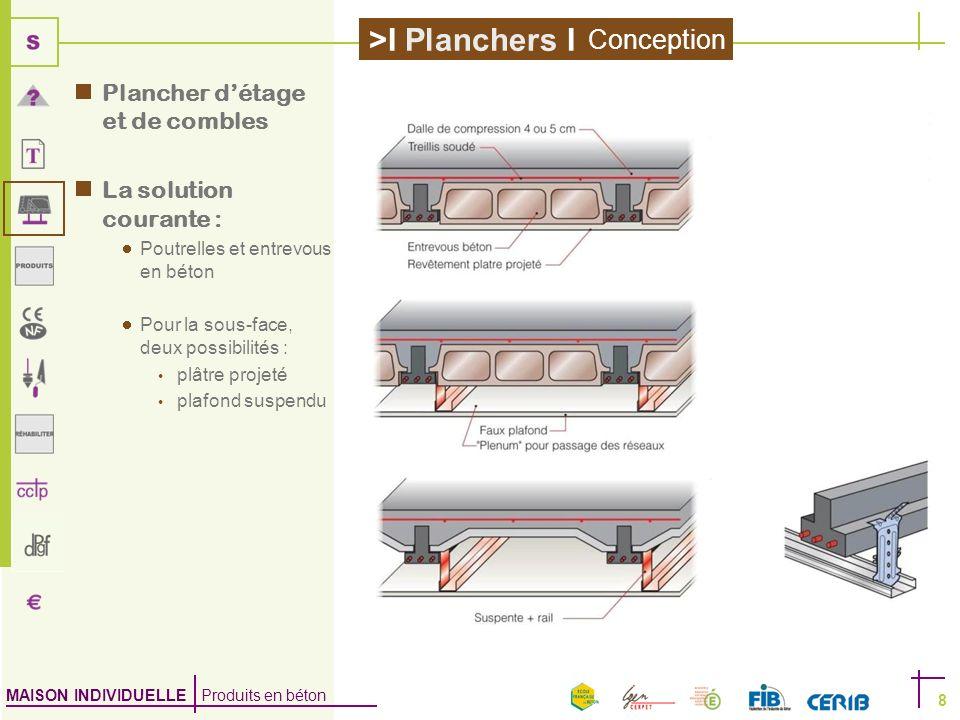 MAISON INDIVIDUELLE Produits en béton >I Planchers I 8 Plancher détage et de combles La solution courante : Poutrelles et entrevous en béton Pour la s