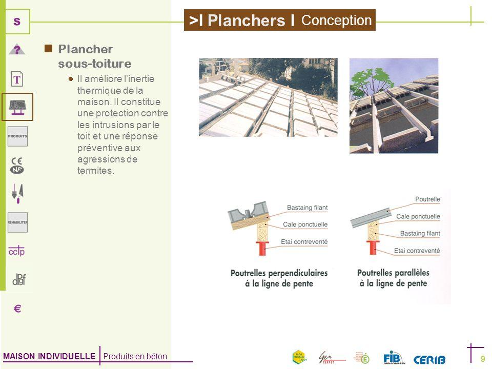 MAISON INDIVIDUELLE Produits en béton >I Planchers I 9 Plancher sous-toiture Il améliore linertie thermique de la maison. Il constitue une protection