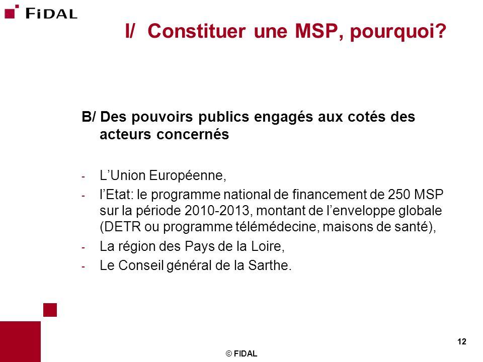 12 © FIDAL 12 I/ Constituer une MSP, pourquoi? B/ Des pouvoirs publics engagés aux cotés des acteurs concernés - LUnion Européenne, - lEtat: le progra