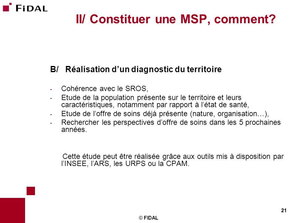 21 © FIDAL 21 II/ Constituer une MSP, comment? B/ Réalisation dun diagnostic du territoire - Cohérence avec le SROS, - Etude de la population présente