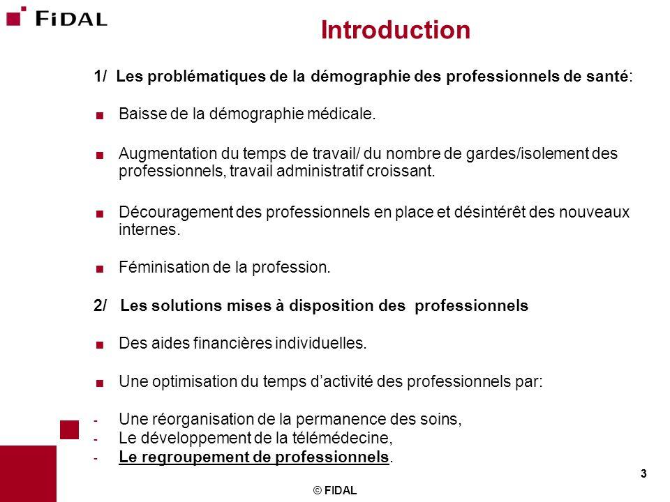3 © FIDAL 3 Introduction 1/ Les problématiques de la démographie des professionnels de santé: Baisse de la démographie médicale. Augmentation du temps