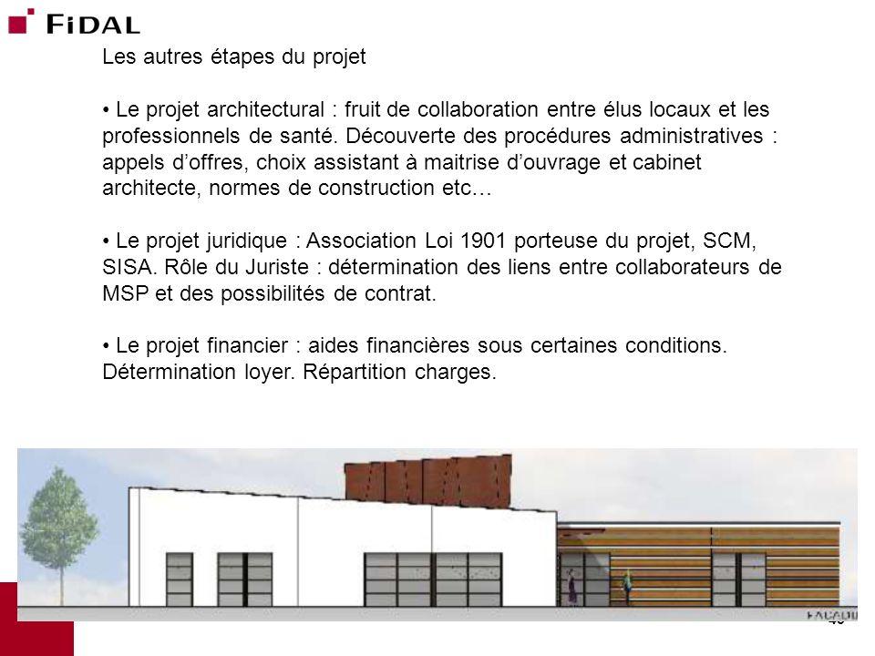 43 Les autres étapes du projet Le projet architectural : fruit de collaboration entre élus locaux et les professionnels de santé. Découverte des procé