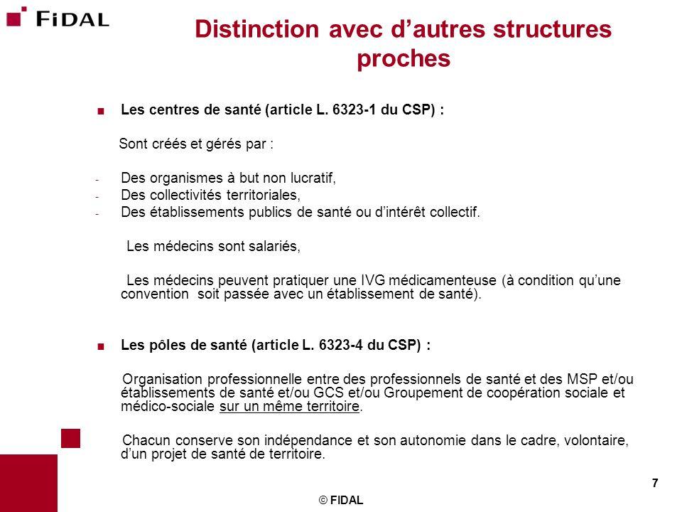 7 © FIDAL 7 Distinction avec dautres structures proches Les centres de santé (article L. 6323-1 du CSP) : Sont créés et gérés par : - Des organismes à