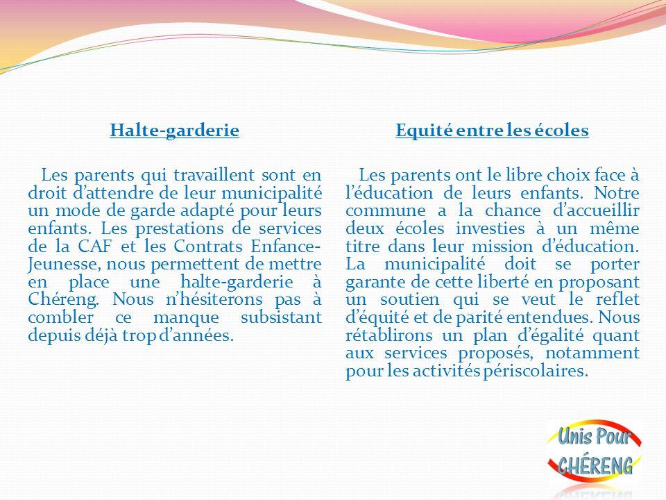 Halte-garderie Les parents qui travaillent sont en droit dattendre de leur municipalité un mode de garde adapté pour leurs enfants. Les prestations de