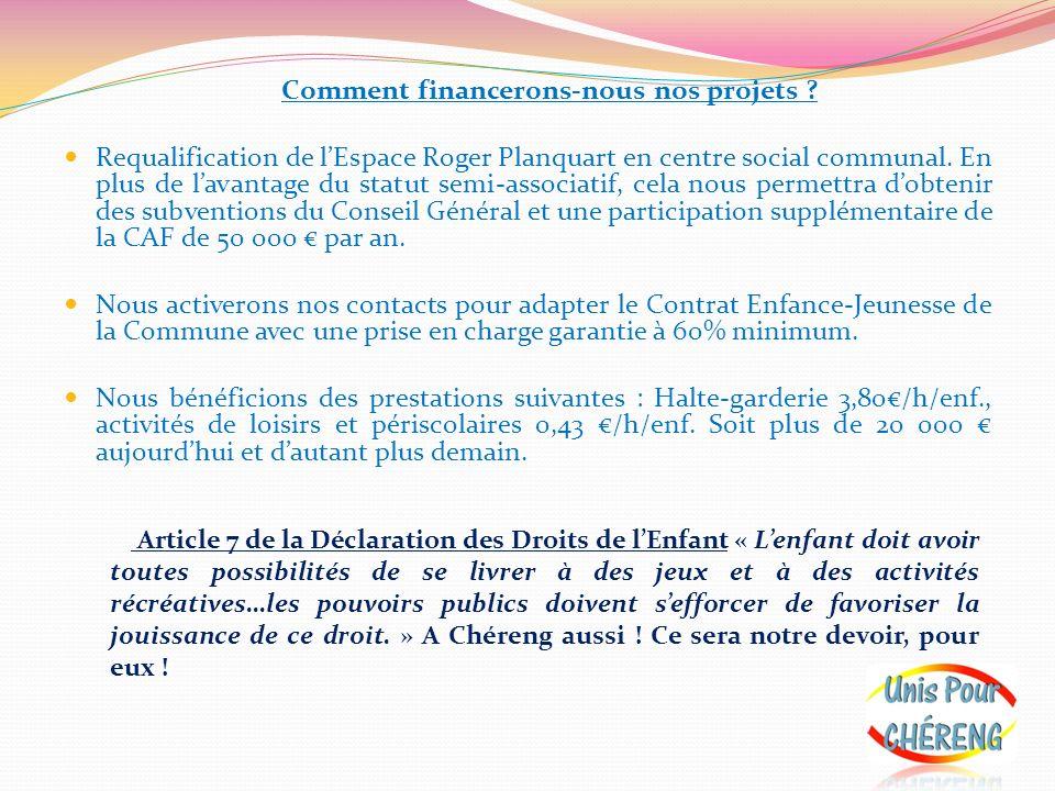 Comment financerons-nous nos projets ? Requalification de lEspace Roger Planquart en centre social communal. En plus de lavantage du statut semi-assoc