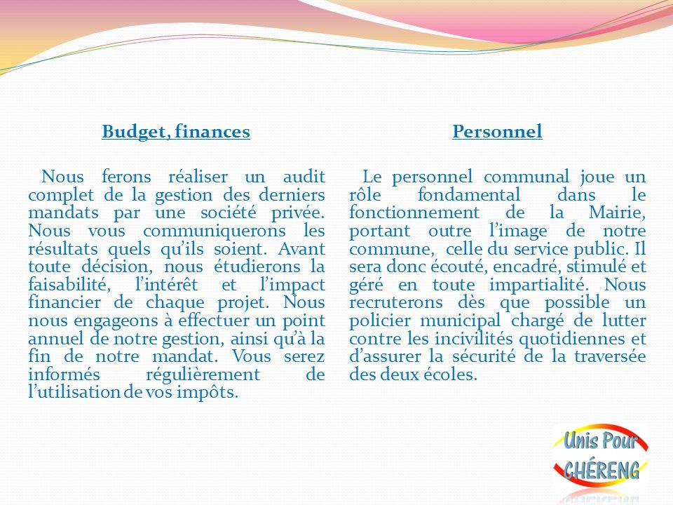 Budget, finances Nous ferons réaliser un audit complet de la gestion des derniers mandats par une société privée. Nous vous communiquerons les résulta