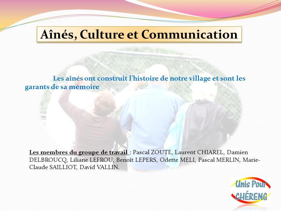 Aînés, Culture et Communication Les aînés ont construit lhistoire de notre village et sont les garants de sa mémoire Les membres du groupe de travail