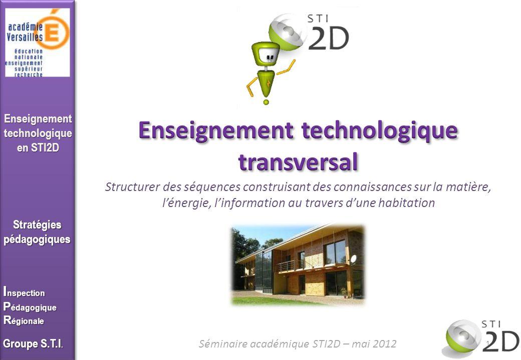 Enseigner en STI2D Lhabitat est un système technique comme un autre Cest un système technique qui pour répondre un besoin, nécessite dêtre structuré autour des trois composantes : matériaux, énergie, information 2