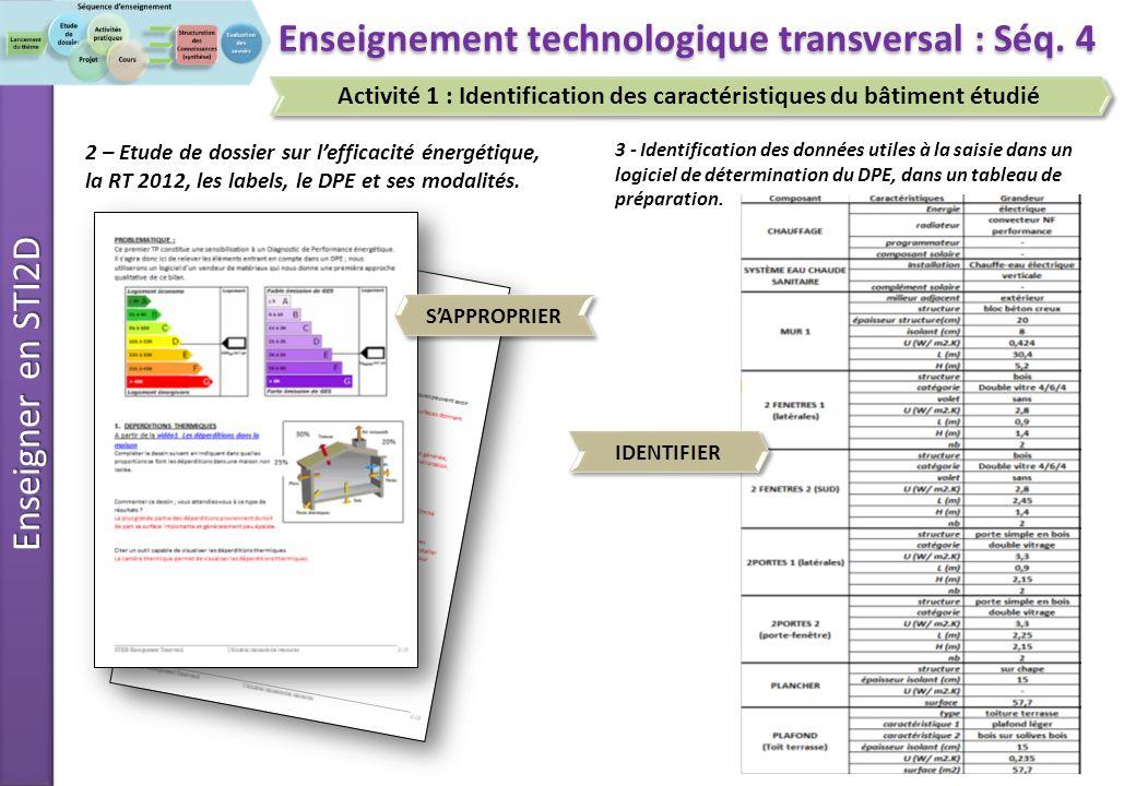 Enseigner en STI2D 33 Enseignement technologique transversal : Séq.