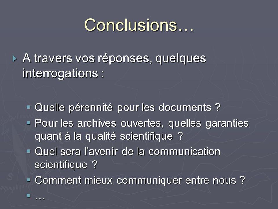 Conclusions… A travers vos réponses, quelques interrogations : A travers vos réponses, quelques interrogations : Quelle pérennité pour les documents .