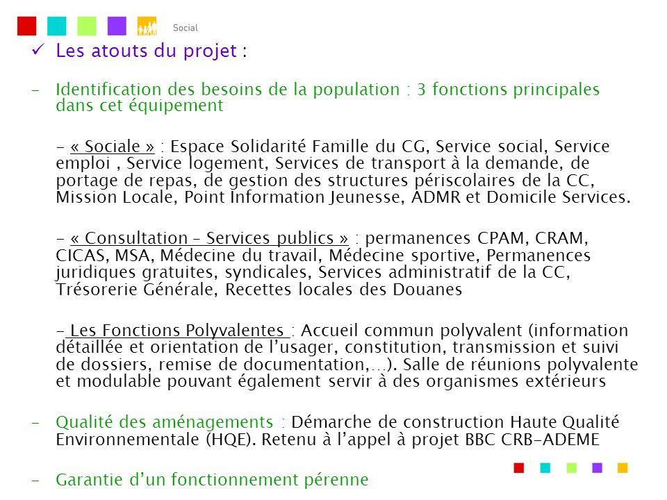 Les atouts du projet : -Identification des besoins de la population : 3 fonctions principales dans cet équipement - « Sociale » : Espace Solidarité Fa