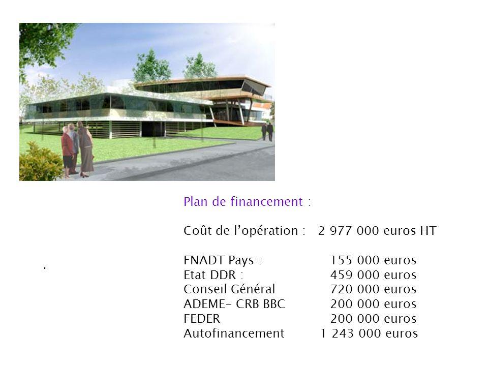 . Plan de financement : Coût de lopération : 2 977 000 euros HT FNADT Pays : 155 000 euros Etat DDR : 459 000 euros Conseil Général 720 000 euros ADEM