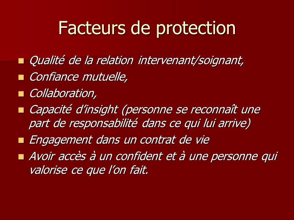Facteurs de protection Qualité de la relation intervenant/soignant, Qualité de la relation intervenant/soignant, Confiance mutuelle, Confiance mutuell