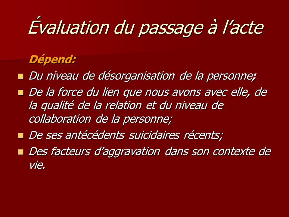 Évaluation du passage à lacte Dépend: Du niveau de désorganisation de la personne; Du niveau de désorganisation de la personne; De la force du lien qu