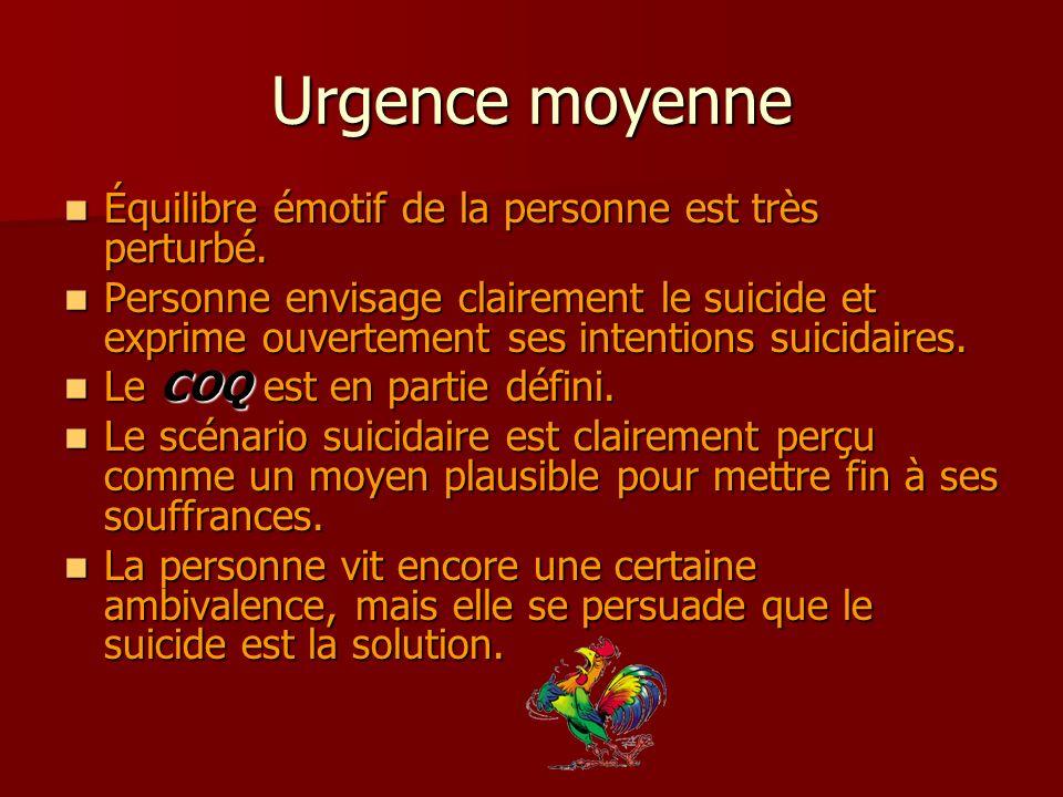 Urgence moyenne Équilibre émotif de la personne est très perturbé. Équilibre émotif de la personne est très perturbé. Personne envisage clairement le